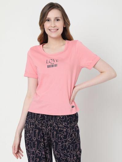 Pink & Blue Joggers & T-shirt Set