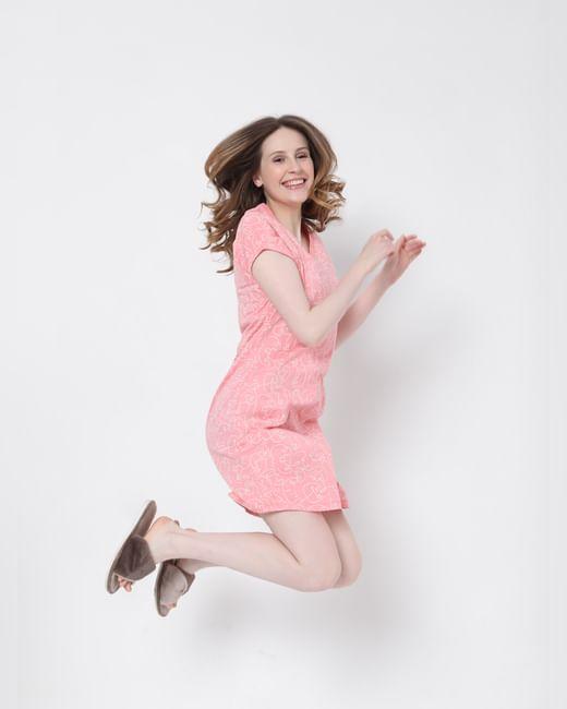 Pink Printed Nightwear Dress