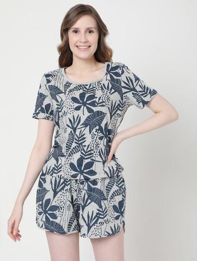 Grey Tropical Print T-shirt & Shorts Set
