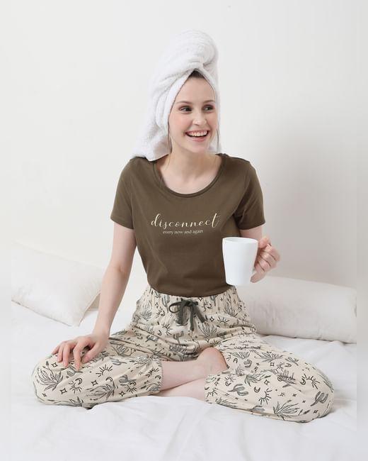 Brown & Beige Pyjama Set