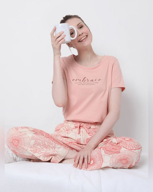 Pink Printed Pyjama Sets