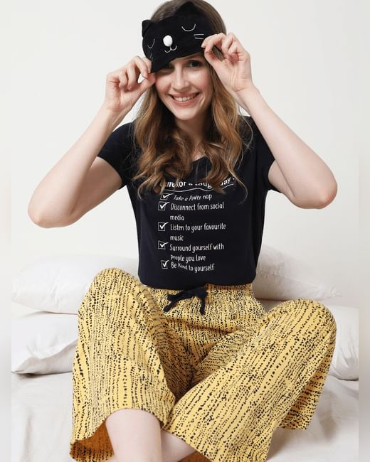 Black & Yellow Checklist Pyjama Set