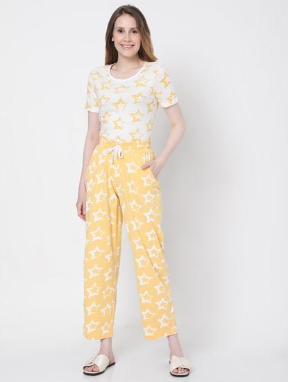 Yellow Star Print Pyjama Set