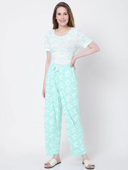 Green Star Print Pyjama Set