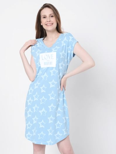 Blue Printed Nightwear Dress