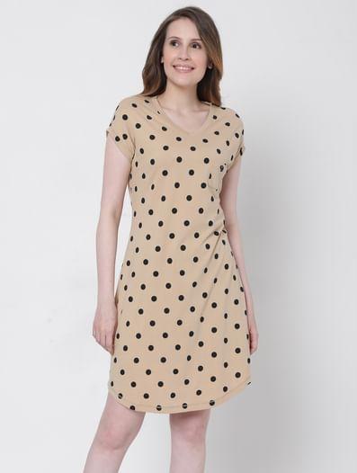Beige Polka Dot Nightwear Dress