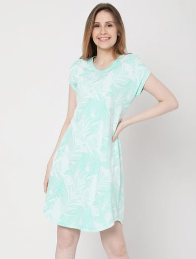 Green Tropical Print Nightwear Dress