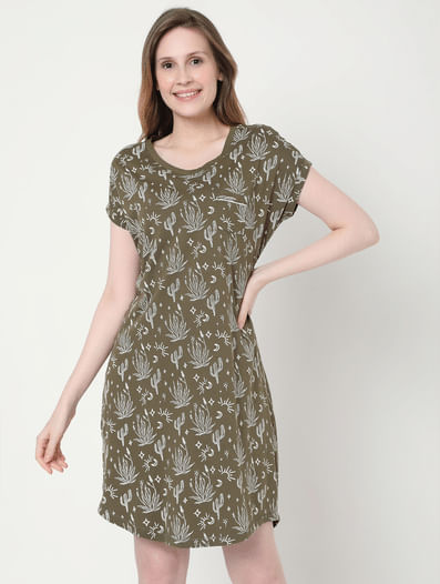 Green Cactus Print Nightwear Dress