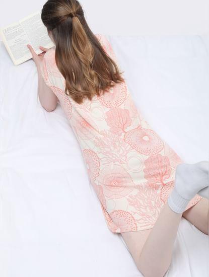 Coral Printed Nighwear Dress