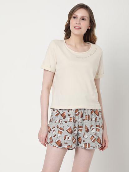 Beige & Grey Coffee Cup Print T-shirt & Shorts Set