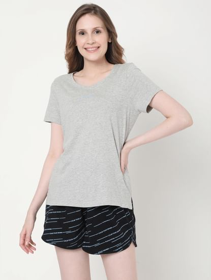 Grey T-shirt & Shorts Set
