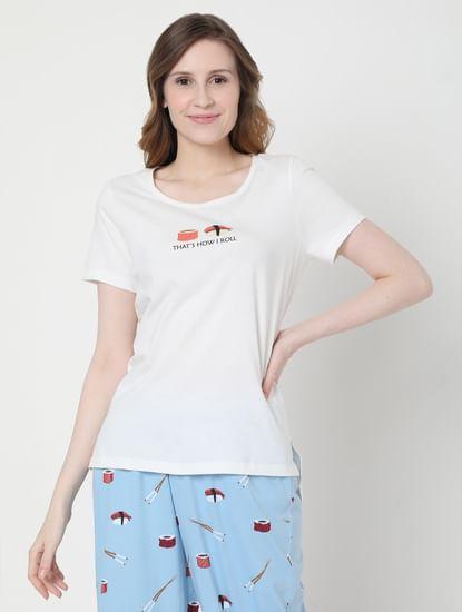 White & Blue Sushi Print Pyjama Set