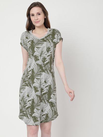 Grey Tropical Print Nighwear Dress