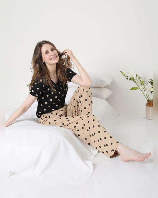 Beige & Black Polka Dot Pyjama Set