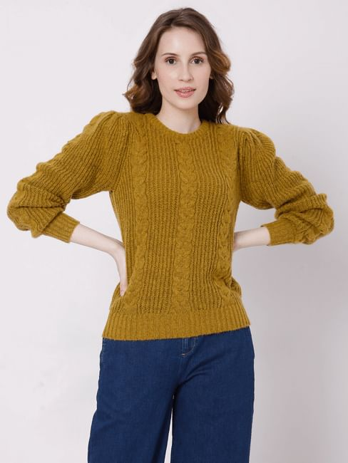 Mustard Self Design Sweater