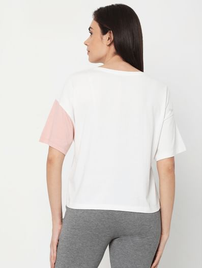 White Colourblocked Lounge T-shirt