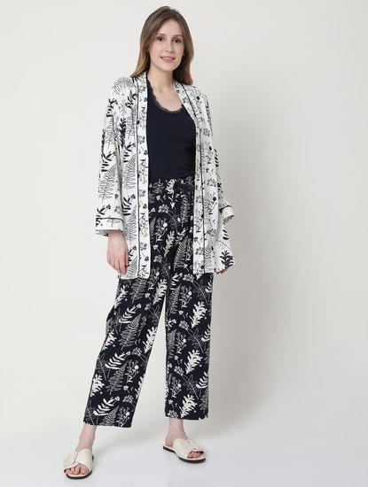 White Printed Jacket & Tank Top Pyjama Set