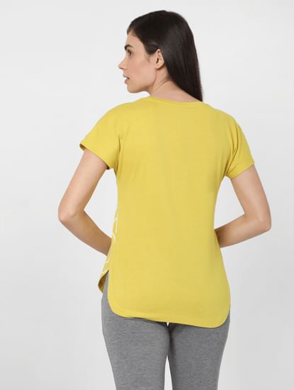Yellow Slogan Print Lounge T-shirt