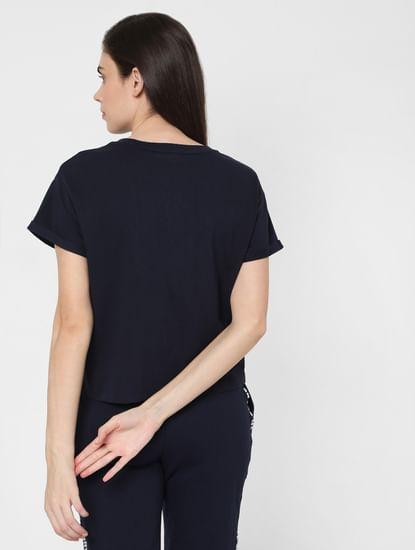 Navy Blue Text Print Lounge T-shirt