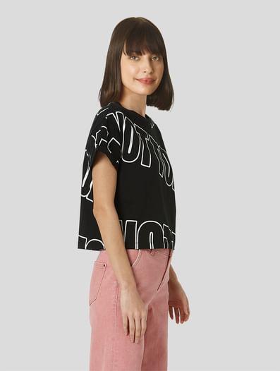 Black Cropped Lounge T-shirt