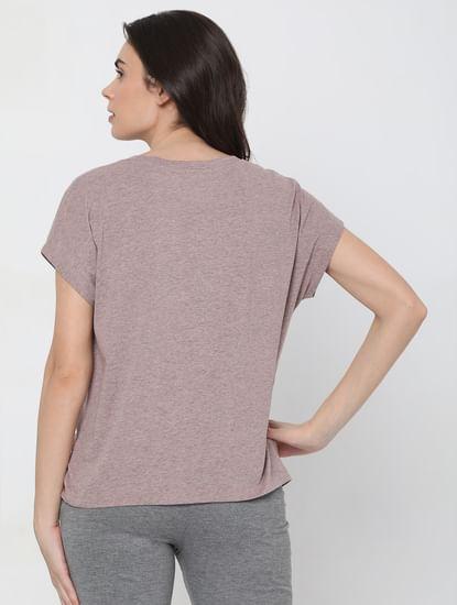 Pink Textured Overlap Lounge T-shirt