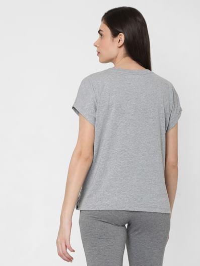Grey Textured Overlap Lounge T-shirt