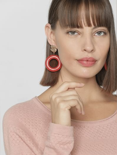 Red Round Drop Earrings