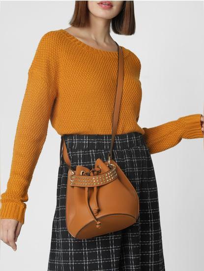 Brown Embellished Strap Sling Bag