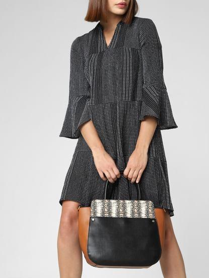 Black Colourblocked Handbag