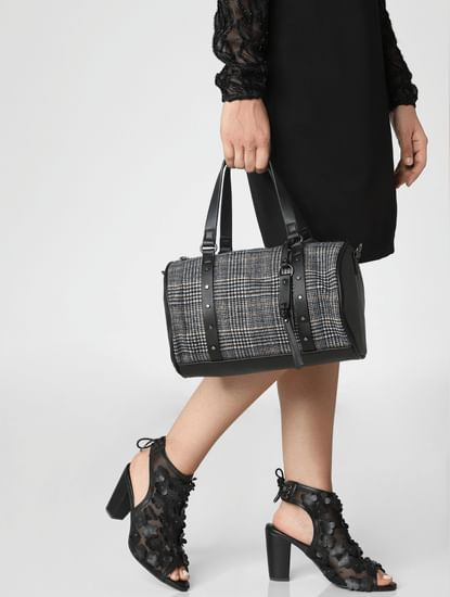 Black Printed Duffle Bag