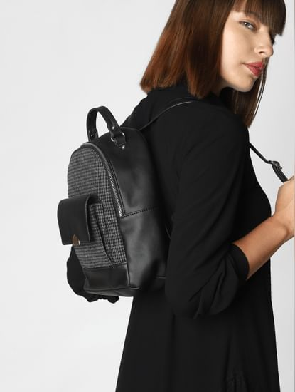 Black Check Backpack