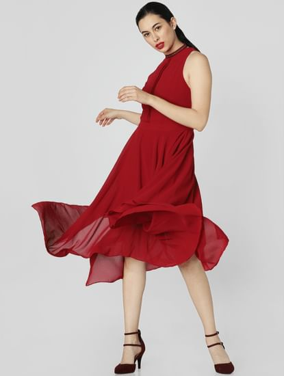 Red Asymmetric Midi Dress