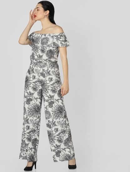 White Floral Print Off Shoulder Jumpsuit