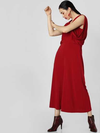 Red Flared Jumpsuit