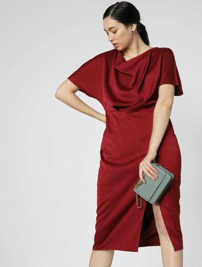 Dark Red Satin Midi Dress