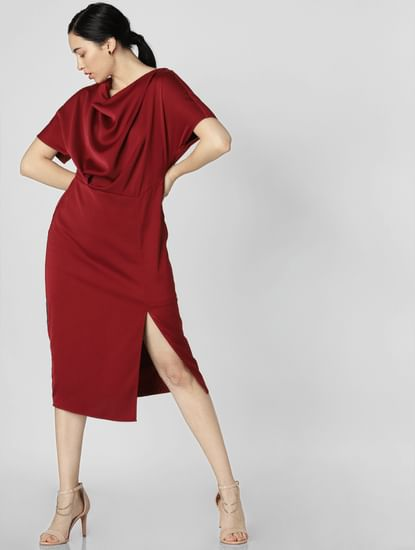 Dark Red Satin Midi Dress