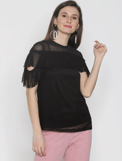 Black Sheer Ruffle Top