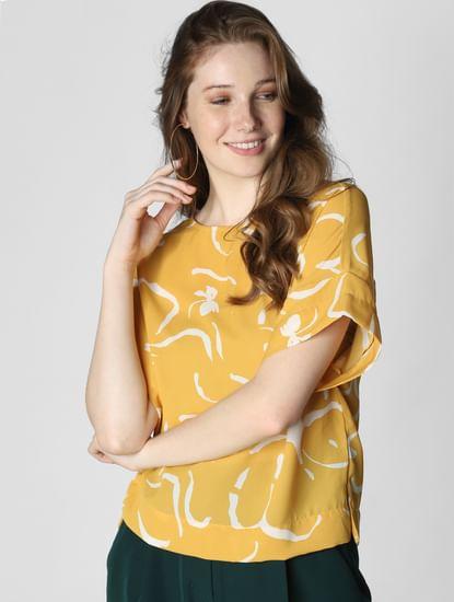 Yellow Printed Drop Shoulder Top