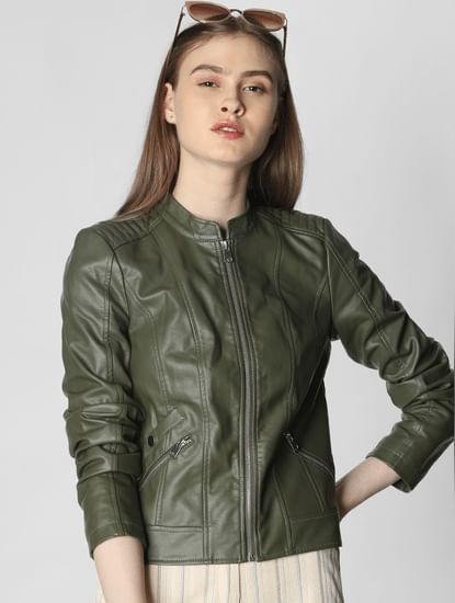 Olive Green Faux Leather Short Jacket