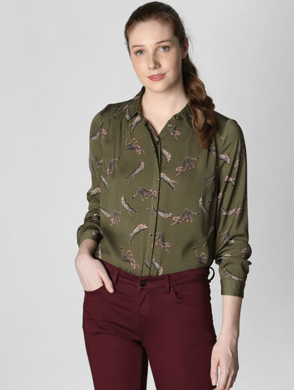 Dark Green All Over Print Shirt