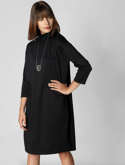Black High Neck Shift Dress