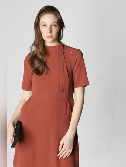Brown Tie-Up Neck Mini Dress