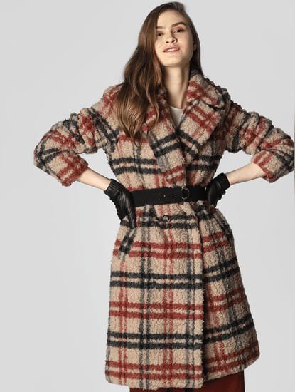 Brown Long Check Coat