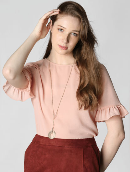 Light Pink Frill Sleeves Top