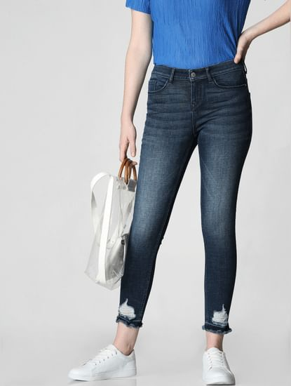Dark Blue Mid Rise Distressed Skinny Fit Jeans
