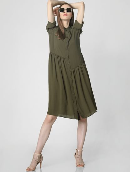 Olive Green Shirt Dress