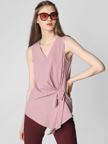 Pink Striped Front Knot Top