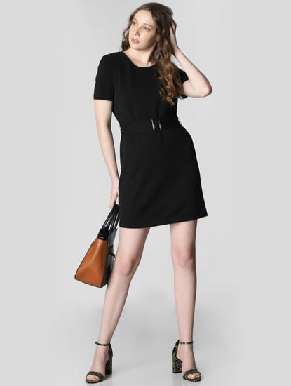 Black Belted Shift Dress