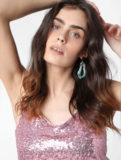 Pink Sequin Strappy Top