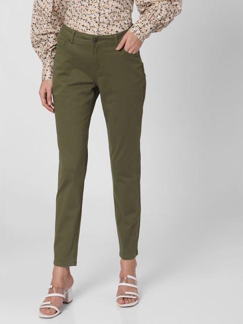 Green Mid Rise Chino Pants